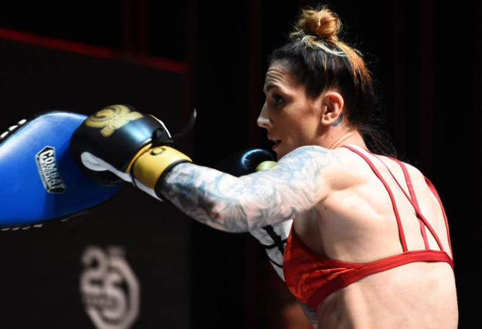 CHICAGO, ILLINOIS - JUNE 06:   Megan Anderson of Australia works out for fans and media during the UFC 225 Open Workouts at the Chicago Theatre on June 6, 2018 in Chicago, Illinois. (Photo by Josh Hedges/Zuffa LLC/Zuffa LLC via Getty Images)