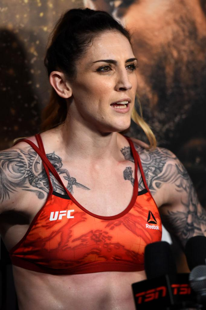 CHICAGO, ILLINOIS - JUNE 06:   Megan Anderson of Australia interacts with media during the UFC 225 Open Workouts at the Chicago Theatre on June 6, 2018 in Chicago, Illinois. (Photo by Josh Hedges/Zuffa LLC/Zuffa LLC via Getty Images)
