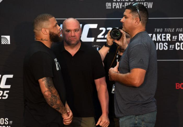 CHICAGO, ILLINOIS - JUNE 07:   (L-R) Opponents Rashad Coulter and Chris De La Rocha face off during the UFC 225 Ultimate Media Day at the United Center on June 7, 2018 in Chicago, Illinois. (Photo by Josh Hedges/Zuffa LLC/Zuffa LLC via Getty Images)