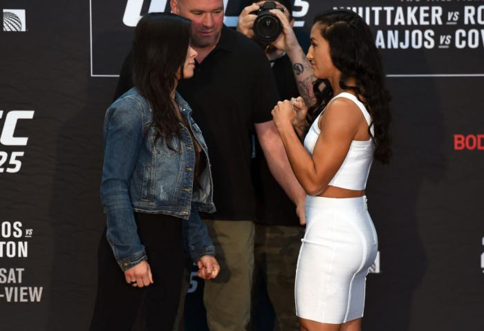 CHICAGO, ILLINOIS - JUNE 07:   (L-R) Opponents Claudia Gadelha of Brazil and Carla Esparza face off during the UFC 225 Ultimate Media Day at the United Center on June 7, 2018 in Chicago, Illinois. (Photo by Josh Hedges/Zuffa LLC/Zuffa LLC via Getty Images