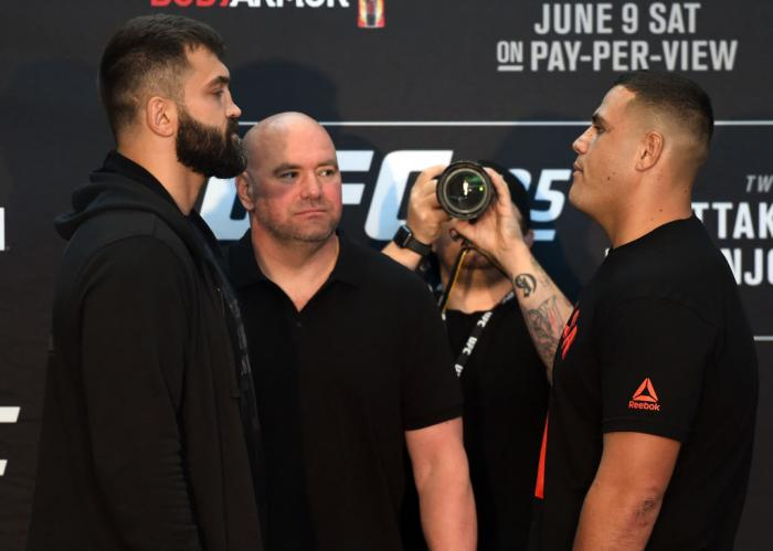 CHICAGO, ILLINOIS - JUNE 07:   (L-R) Opponents Andrei Arlovski of Belarus and Tai Tuivasa of Australia face off during the UFC 225 Ultimate Media Day at the United Center on June 7, 2018 in Chicago, Illinois. (Photo by Josh Hedges/Zuffa LLC/Zuffa LLC via