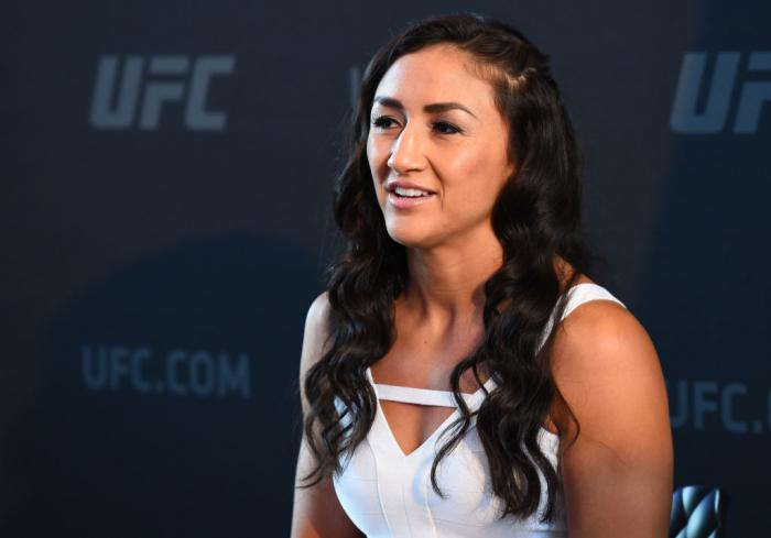 CHICAGO, ILLINOIS - JUNE 07:   Carla Esparza interacts with media during the UFC 225 Ultimate Media Day at the United Center on June 7, 2018 in Chicago, Illinois. (Photo by Josh Hedges/Zuffa LLC/Zuffa LLC via Getty Images)