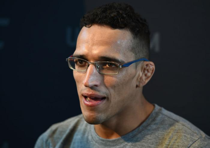 CHICAGO, ILLINOIS - JUNE 07:   Charles Oliveira of Brazil interacts with media during the UFC 225 Ultimate Media Day at the United Center on June 7, 2018 in Chicago, Illinois. (Photo by Josh Hedges/Zuffa LLC/Zuffa LLC via Getty Images)