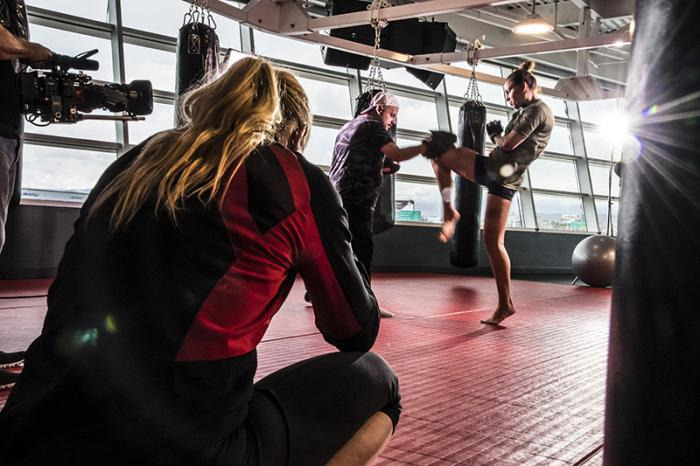 Las Vegas 5/27/18 - Antonina Shevchenko at the UFC Performance Institute in las Vegas preparing for Dana White's Tuesday Night Contender Series. He sister Valentina Shevchenko watches. (Photo credit: Juan Cardenas)
