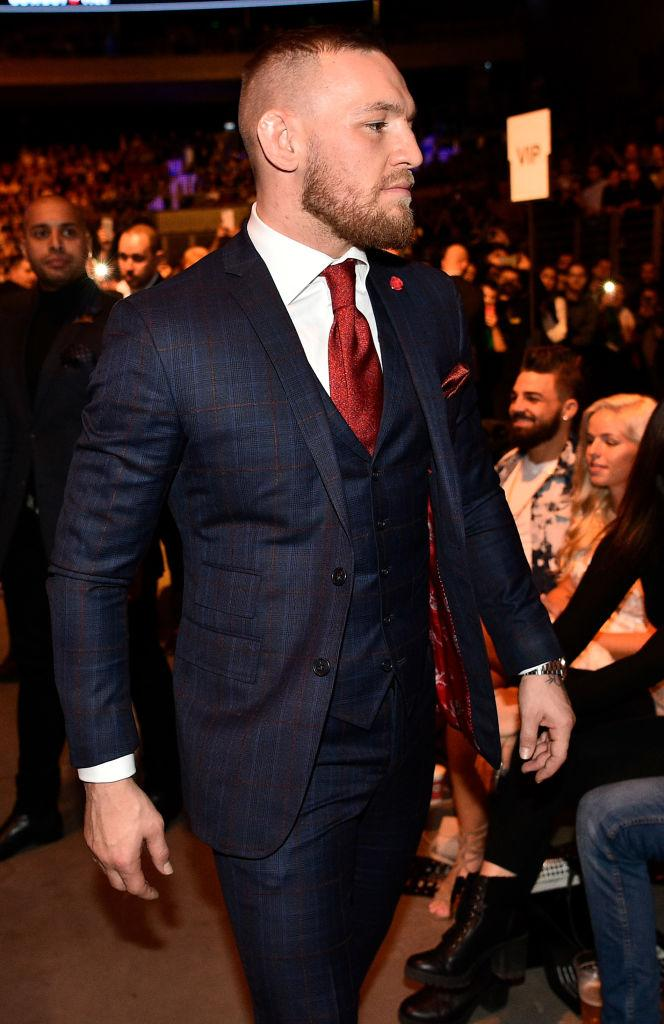 GDANSK, POLAND - OCTOBER 21: UFC lightweight champion Conor McGregor is seen in attendance during the UFC Fight Night event inside Ergo Arena on October 21, 2017 in Gdansk, Poland. (Photo by Jeff Bottari/Zuffa LLC
