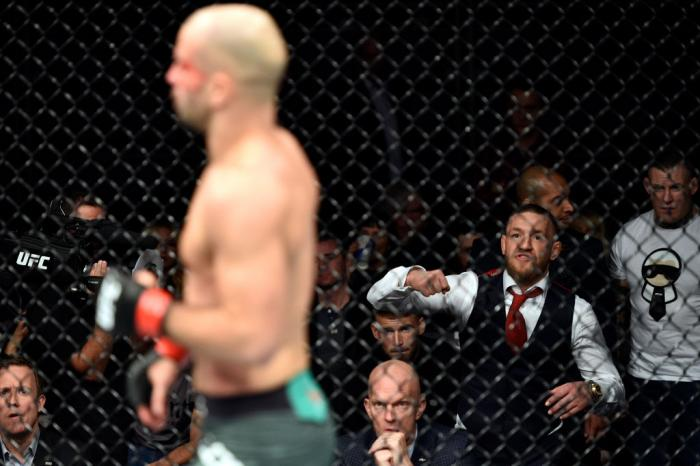 GDANSK, POLAND - OCTOBER 21: UFC lightweight champion Conor McGregor cheers on teammate Artem Lobov in his featherweight bout against Andre Fili during the UFC Fight Night event inside Ergo Arena on October 21, 2017 in Gdansk, Poland. (Photo by Jeff Botta