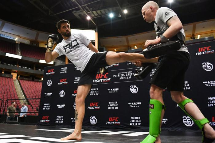 GLENDALE, AZ - APRIL 11:  Carlos Condit holds an open workout for fans and media at Gila River Arena on April 11, 2018 in Glendale, Arizona.  (Photo by Jennifer Stewart/Zuffa LLC/Zuffa LLC via Getty Images)
