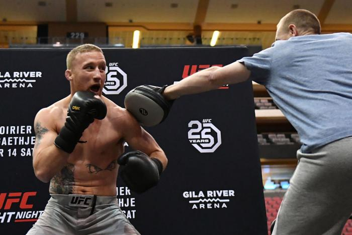 GLENDALE, AZ - APRIL 11:  Justin Gaethje holds an open workout for fans and media at Gila River Arena on April 11, 2018 in Glendale, Arizona.  (Photo by Jennifer Stewart/Zuffa LLC/Zuffa LLC via Getty Images)