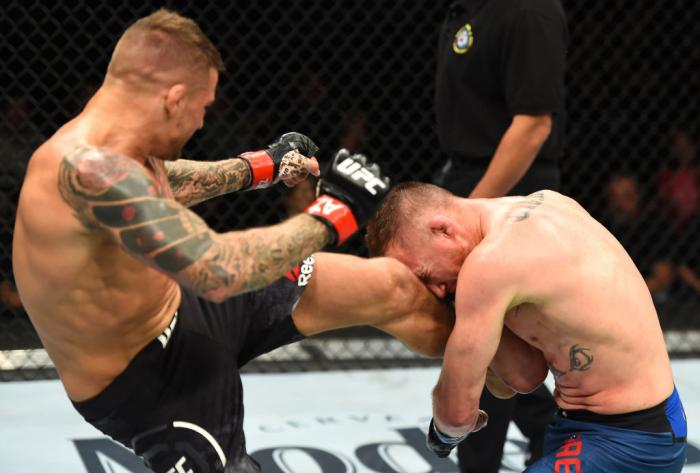 GLENDALE, AZ - APRIL 14:  (L-R) Dustin Poirier kicks Justin Gaethje in their lightweight fight during the UFC Fight Night event at the Gila Rivera Arena on April 14, 2018 in Glendale, Arizona. (Photo by Josh Hedges/Zuffa LLC/Zuffa LLC via Getty Images)