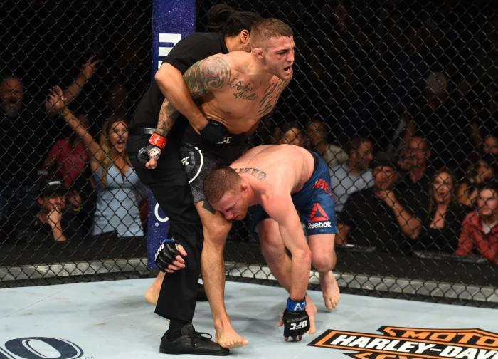 GLENDALE, AZ - APRIL 14:  (L-R) Dustin Poirier defeats Justin Gaethje in their lightweight fight during the UFC Fight Night event at the Gila Rivera Arena on April 14, 2018 in Glendale, Arizona. (Photo by Josh Hedges/Zuffa LLC/Zuffa LLC via Getty Images)