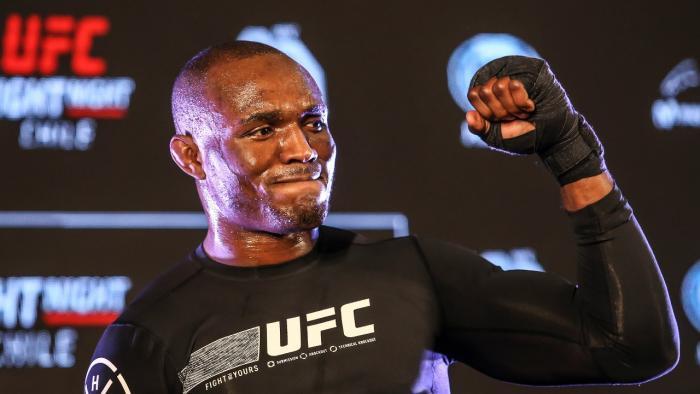 Kamaru Usman at the UFC Chile open workouts