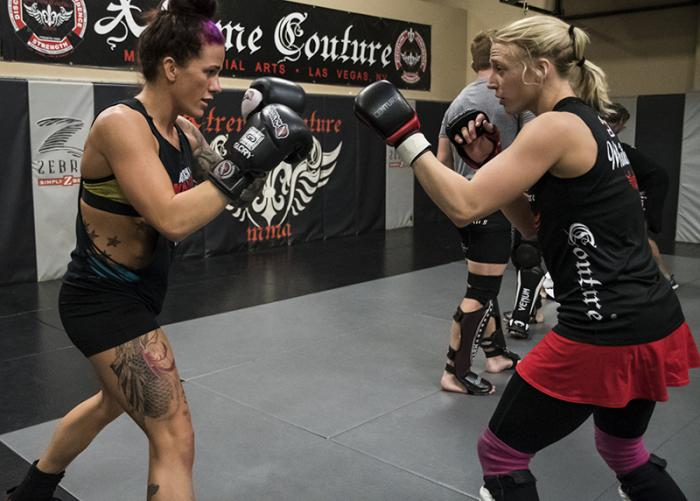 11/16/17 - Las Vegas, Xtreme Couture MMA - Gina Mazany prepares for UFC Shanghai 2017 with Emily Whitmire (Photo credit Juan Cardenas)