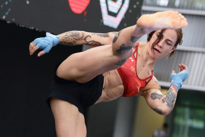 SINGAPORE - JUNE 20:  Jessica-Rose Clark of Australia participates in the UFC Fight Night Open Workout at OCBC Square on June 20, 2018 in Singapore.  (Photo by Suhaimi Abdullah - Zuffa LLC/Zuffa LLC)