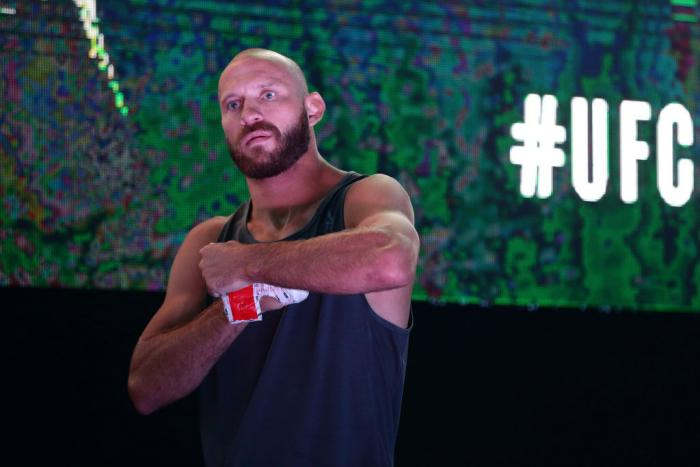 SINGAPORE - JUNE 20: Donald Cerrone of United States participates in the UFC Fight Night Open Workout at OCBC Square on June 20, 2018 in Singapore. (Photo by Suhaimi Abdullah - Zuffa LLC/Zuffa LLC)