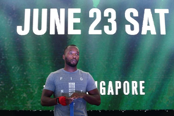 SINGAPORE - JUNE 20:  Leon Edwards of Jamaica participates in the UFC Fight Night Open Workout at OCBC Square on June 20, 2018 in Singapore.  (Photo by Suhaimi Abdullah - Zuffa LLC/Zuffa LLC)