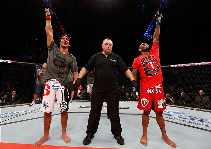 BELO HORIZONTE, BRAZIL - SEPTEMBER 04:  Yuri Villefort (L) and Sean Spencer reacts as the judges' scores are read after their welterweight fight during the UFC on FOX Sports 1 event at Mineirinho Arena on September 4, 2013 in Belo Horizonte, Brazil. (Phot