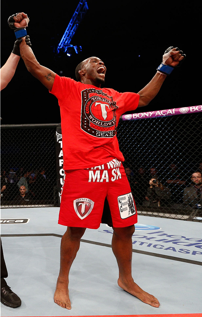 BELO HORIZONTE, BRAZIL - SEPTEMBER 04:  Sean Spencer reacts after defeating Yuri Villefort in the welterweight fight during the UFC on FOX Sports 1 event at Mineirinho Arena on September 4, 2013 in Belo Horizonte, Brazil. (Photo by Josh Hedges/Zuffa LLC/Z