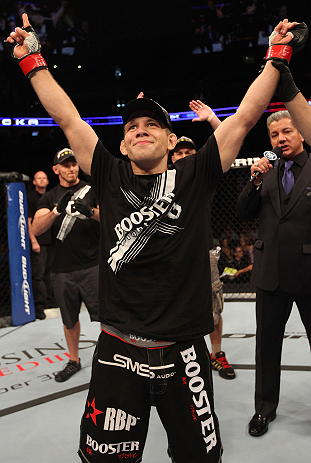 DENVER, CO - AUGUST 11:  Nik Lentz reacts after defeating Eiji Mitsuoka during their featherweight bout at UFC 150 inside Pepsi Center on August 11, 2012 in Denver, Colorado. (Photo by Nick Laham/Zuffa LLC/Zuffa LLC via Getty Images)