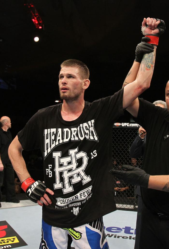 OMAHA, NE - FEBRUARY 15:  Tim Means reacts after defeating Bernardo Magalhaes during the UFC on FUEL TV event at Omaha Civic Auditorium on February 15, 2012 in Omaha, Nebraska.  (Photo by Josh Hedges/Zuffa LLC/Zuffa LLC via Getty Images) *** Local Caption