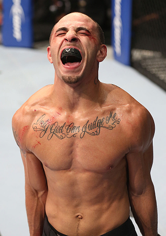 DENVER, CO - AUGUST 11:  Chico Camus reacts after his bout against Dustin Pague at UFC 150 inside Pepsi Center on August 11, 2012 in Denver, Colorado. (Photo by Nick Laham/Zuffa LLC/Zuffa LLC via Getty Images)
