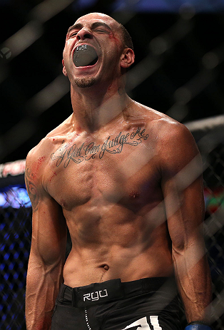 DENVER, CO - AUGUST 11:  Chico Camus reacts after his bout against Dustin Pague at UFC 150 inside Pepsi Center on August 11, 2012 in Denver, Colorado. (Photo by Josh Hedges/Zuffa LLC/Zuffa LLC via Getty Images)