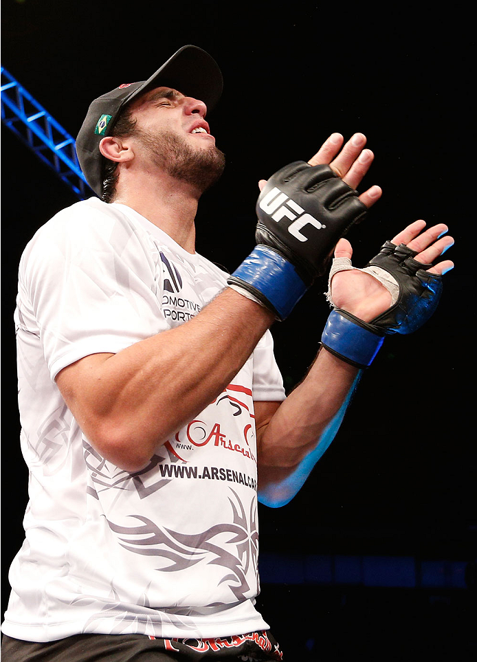 BELO HORIZONTE, BRAZIL - SEPTEMBER 04:  Elias Silverio reacts after his victory over Joao Zeferino in their welterweight fight during the UFC on FOX Sports 1 event at Mineirinho Arena on September 4, 2013 in Belo Horizonte, Brazil. (Photo by Josh Hedges/Z