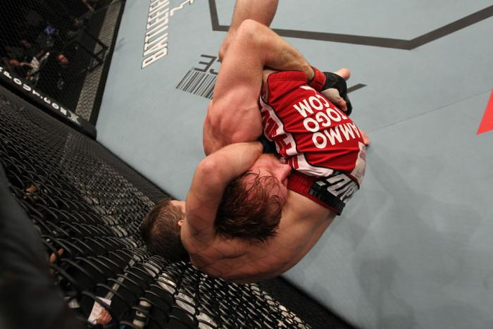 TORONTO, ON - DECEMBER 10:  (R-L) Mark Bocek takes down Nik Lentz during the UFC 140 event at Air Canada Centre on December 10, 2011 in Toronto, Ontario, Canada.  (Photo by Nick Laham/Zuffa LLC/Zuffa LLC via Getty Images)