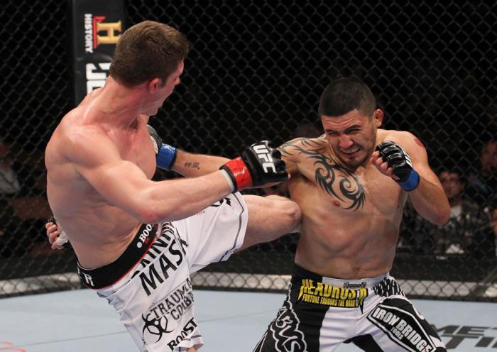 LAS VEGAS, NV - FEBRUARY 04:  Matt Riddle (left) kicks Henry Martinez during the UFC 143 event at Mandalay Bay Events Center on February 4, 2012 in Las Vegas, Nevada.  (Photo by Nick Laham/Zuffa LLC/Zuffa LLC via Getty Images) *** Local Caption *** Matt R