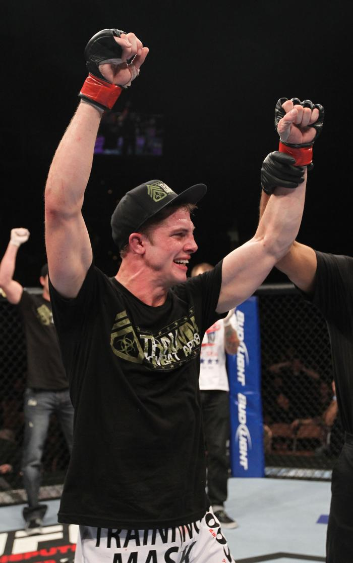 LAS VEGAS, NV - FEBRUARY 04:  Matt Riddle is declared the winner in his fight against Henry Martinez during the UFC 143 event at Mandalay Bay Events Center on February 4, 2012 in Las Vegas, Nevada.  (Photo by Nick Laham/Zuffa LLC/Zuffa LLC via Getty Image