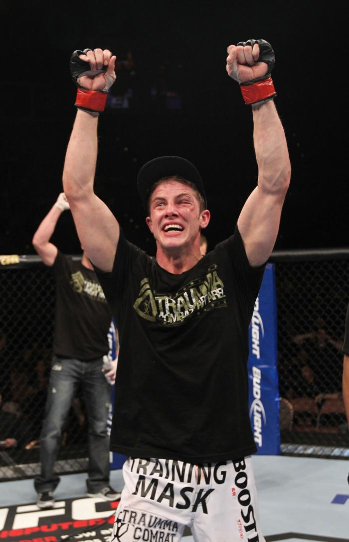 LAS VEGAS, NV - FEBRUARY 04:  Matt Riddle reacts to being declared the winner in his fight against Henry Martinez during the UFC 143 event at Mandalay Bay Events Center on February 4, 2012 in Las Vegas, Nevada.  (Photo by Nick Laham/Zuffa LLC/Zuffa LLC vi