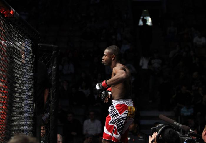 TORONTO, ON - DECEMBER 10:  Yves Jabouin enters the Octagon before his bout against Walel Watson during the UFC 140 event at Air Canada Centre on December 10, 2011 in Toronto, Ontario, Canada.  (Photo by Josh Hedges/Zuffa LLC/Zuffa LLC via Getty Images)