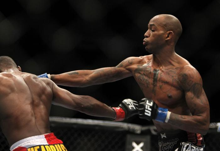 TORONTO, ON - DECEMBER 10:  (R-L) Walel Watson punches Yves Jabouin during the UFC 140 event at Air Canada Centre on December 10, 2011 in Toronto, Ontario, Canada.  (Photo by Josh Hedges/Zuffa LLC/Zuffa LLC via Getty Images)