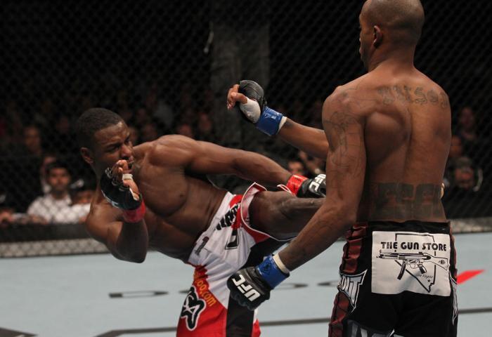 TORONTO, ON - DECEMBER 10:  (L-R) Yves Jabouin kicks Walel Watson during the UFC 140 event at Air Canada Centre on December 10, 2011 in Toronto, Ontario, Canada.  (Photo by Nick Laham/Zuffa LLC/Zuffa LLC via Getty Images)