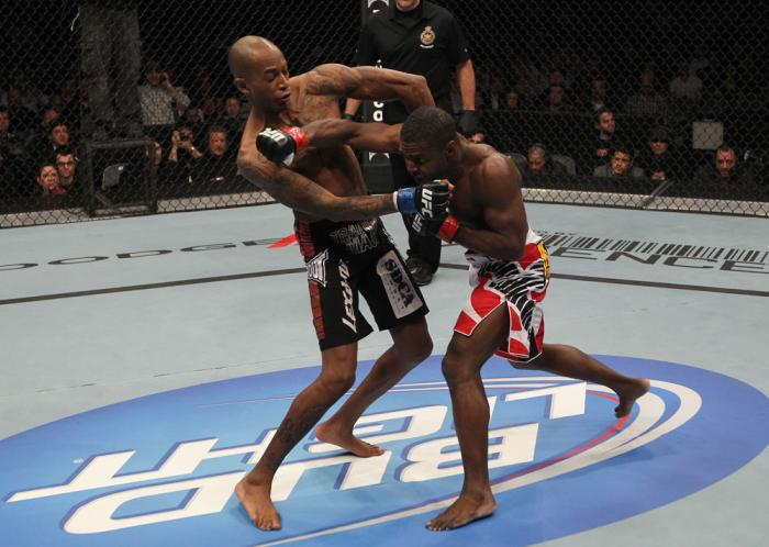 TORONTO, ON - DECEMBER 10:  (R-L) Yves Jabouin punches Walel Watson during the UFC 140 event at Air Canada Centre on December 10, 2011 in Toronto, Ontario, Canada.  (Photo by Nick Laham/Zuffa LLC/Zuffa LLC via Getty Images)