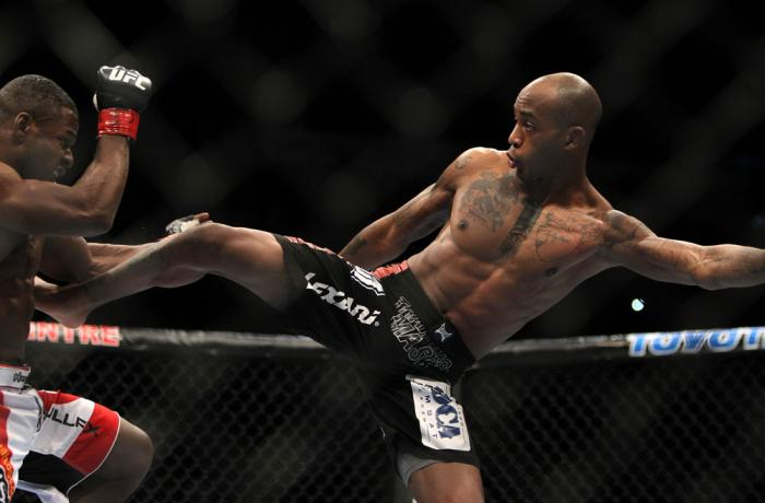 TORONTO, ON - DECEMBER 10:  (R-L) Walel Watson kicks Yves Jabouin during the UFC 140 event at Air Canada Centre on December 10, 2011 in Toronto, Ontario, Canada.  (Photo by Josh Hedges/Zuffa LLC/Zuffa LLC via Getty Images)