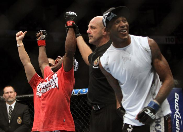 TORONTO, ON - DECEMBER 10:  Yves Jabouin (L) and Walel Watson (R) react after Jabouin is announced the winner by split decision in their bout during the UFC 140 event at Air Canada Centre on December 10, 2011 in Toronto, Ontario, Canada.  (Photo by Josh H