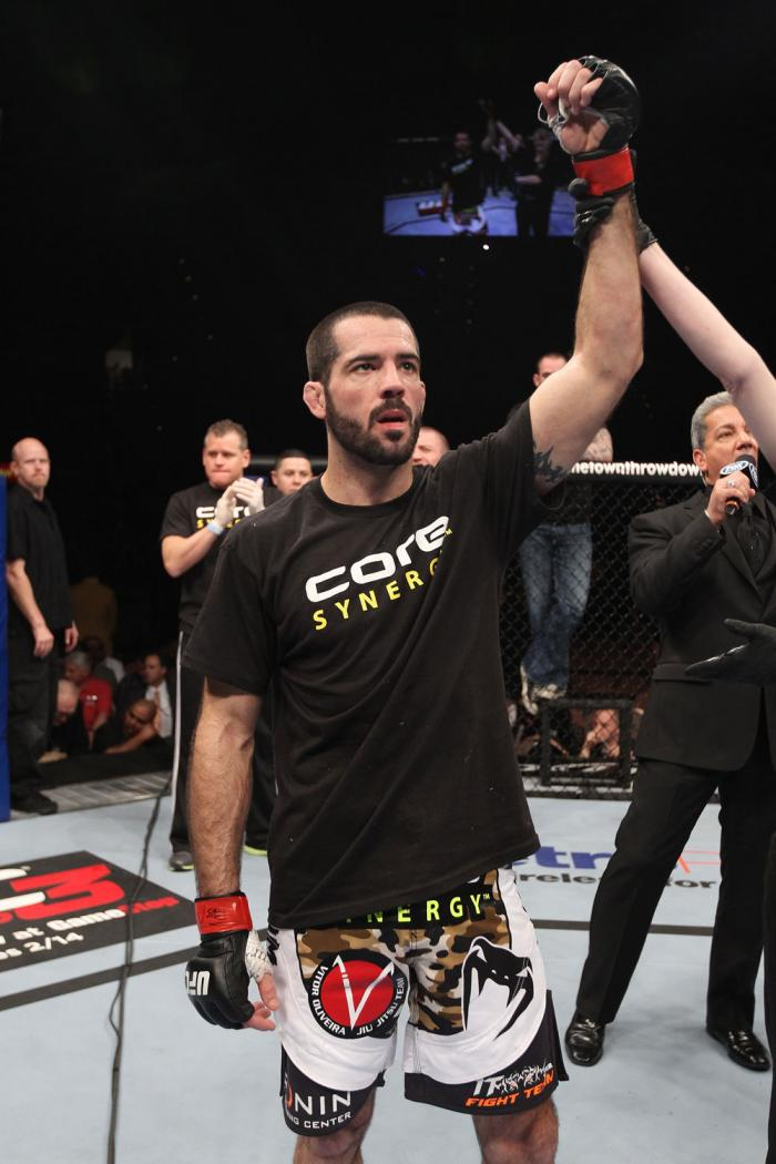 LAS VEGAS, NV - FEBRUARY 04:  Matt Brown is declared the winner in his fight against Chris Cope during the UFC 143 event at Mandalay Bay Events Center on February 4, 2012 in Las Vegas, Nevada.  (Photo by Nick Laham/Zuffa LLC/Zuffa LLC via Getty Images) **