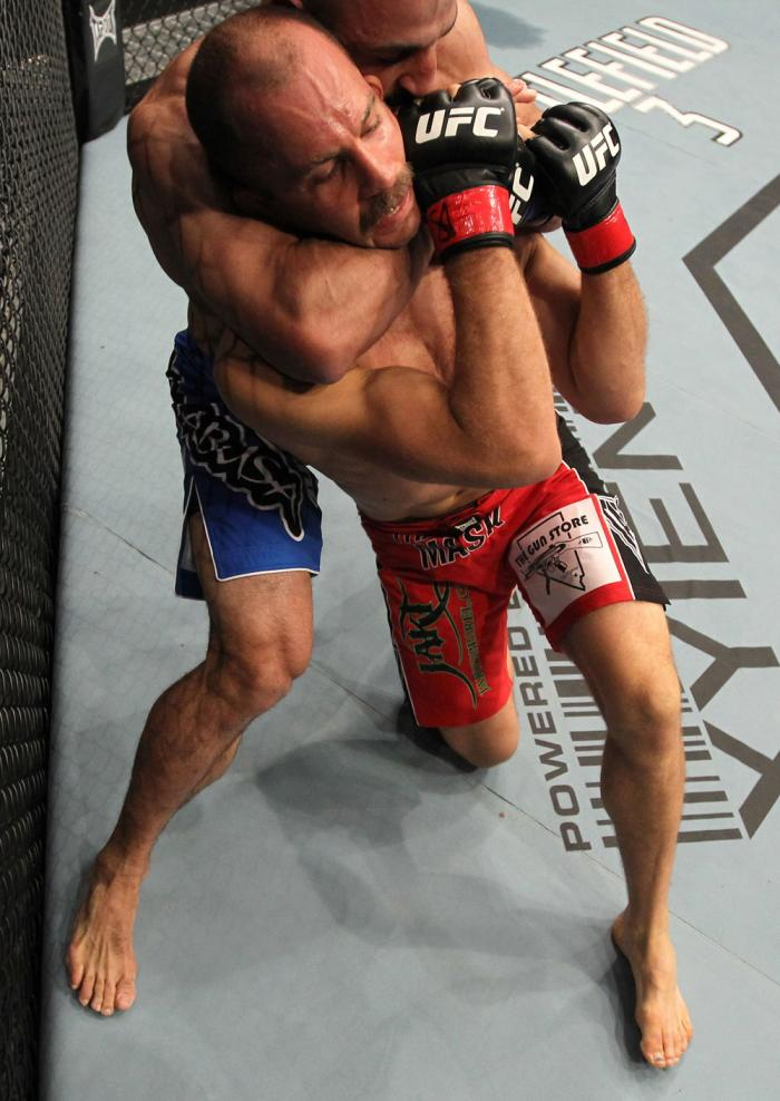 TORONTO, ON - DECEMBER 10:  (L-R) Constantinos Philippou attempts a rear choke against Jared Hamman during the UFC 140 event at Air Canada Centre on December 10, 2011 in Toronto, Ontario, Canada.  (Photo by Nick Laham/Zuffa LLC/Zuffa LLC via Getty Images)