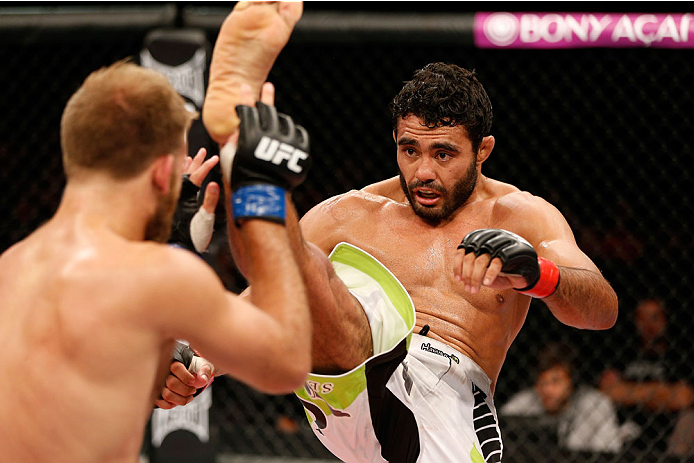 BELO HORIZONTE, BRAZIL - SEPTEMBER 04:  (R-L) Rafael Natal kicks Tor Troeng in their middleweight fight during the UFC on FOX Sports 1 event at Mineirinho Arena on September 4, 2013 in Belo Horizonte, Brazil. (Photo by Josh Hedges/Zuffa LLC/Zuffa LLC via