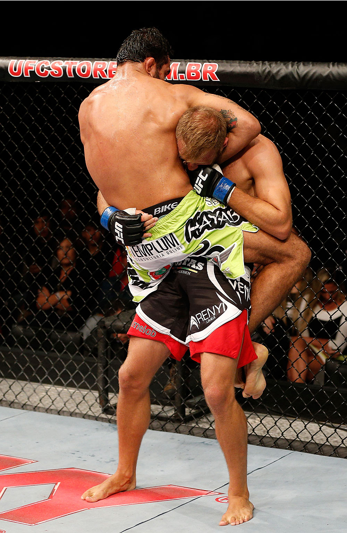 BELO HORIZONTE, BRAZIL - SEPTEMBER 04:  (L-R) Rafael Natal attempts to secure a guillotine choke against Tor Troeng in their middleweight fight during the UFC on FOX Sports 1 event at Mineirinho Arena on September 4, 2013 in Belo Horizonte, Brazil. (Photo