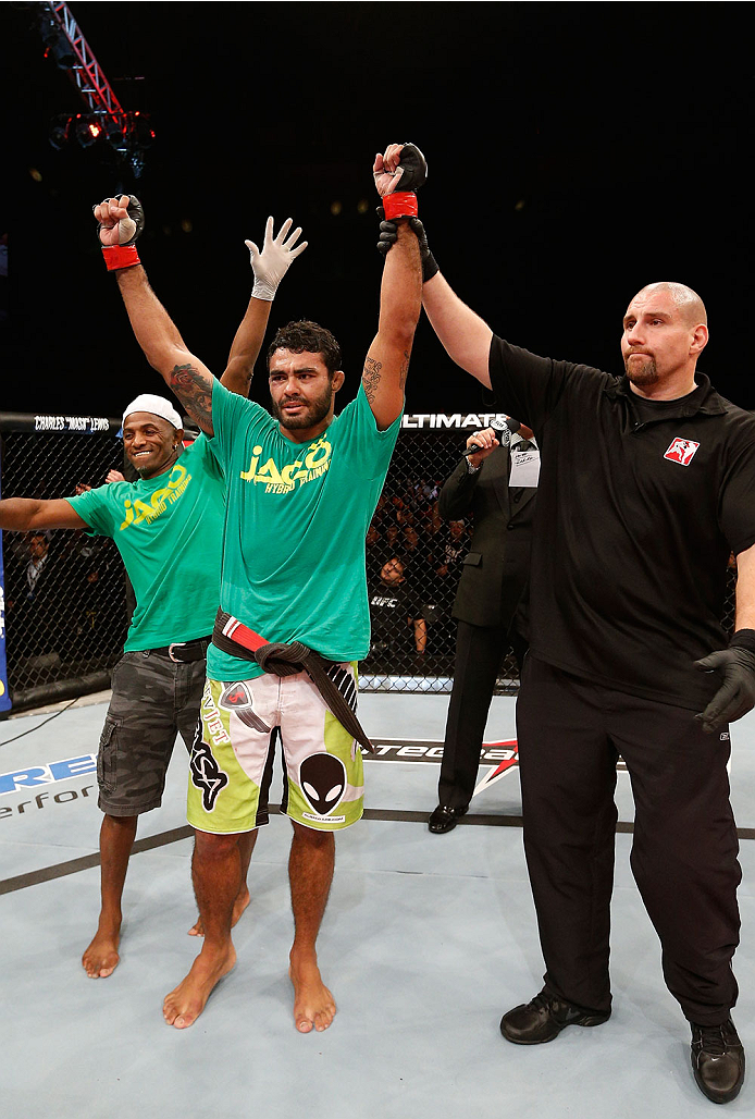 BELO HORIZONTE, BRAZIL - SEPTEMBER 04:  Rafael Natal reacts after his victory over Tor Troeng in their middleweight fight during the UFC on FOX Sports 1 event at Mineirinho Arena on September 4, 2013 in Belo Horizonte, Brazil. (Photo by Josh Hedges/Zuffa
