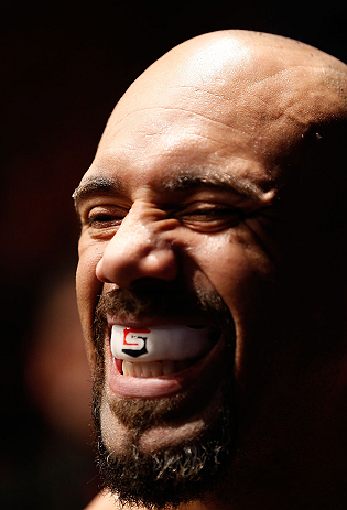 ANAHEIM, CA - FEBRUARY 23:  Lavar Johnson prepares to enter the Octagon to face Brendan Schaub in their heavyweight bout during UFC 157 at Honda Center on February 23, 2013 in Anaheim, California.  (Photo by Josh Hedges/Zuffa LLC/Zuffa LLC via Getty Image