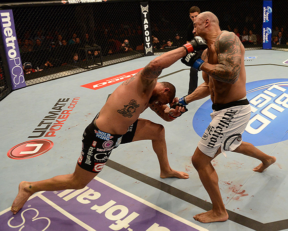 ANAHEIM, CA - FEBRUARY 23:  (L-R) Brendan Schaub punches Lavar Johnson in their heavyweight bout during UFC 157 at Honda Center on February 23, 2013 in Anaheim, California.  (Photo by Donald Miralle/Zuffa LLC/Zuffa LLC via Getty Images) *** Local Caption