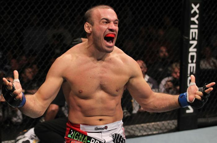TORONTO, ON - DECEMBER 10:  Igor Pokrajac reacts after knocking out Krzysztof Soszynski during the UFC 140 event at Air Canada Centre on December 10, 2011 in Toronto, Ontario, Canada.  (Photo by Nick Laham/Zuffa LLC/Zuffa LLC via Getty Images)