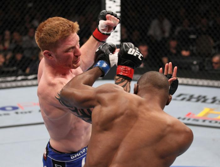 LAS VEGAS, NV - FEBRUARY 04:  Ed Herman (left) punches Clifford Starks during the UFC 143 event at Mandalay Bay Events Center on February 4, 2012 in Las Vegas, Nevada.  (Photo by Nick Laham/Zuffa LLC/Zuffa LLC via Getty Images) *** Local Caption *** Ed He