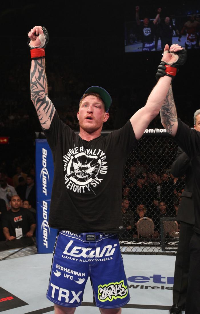 LAS VEGAS, NV - FEBRUARY 04:  Ed Herman is declared the winner in his fight against Clifford Starks during the UFC 143 event at Mandalay Bay Events Center on February 4, 2012 in Las Vegas, Nevada.  (Photo by Nick Laham/Zuffa LLC/Zuffa LLC via Getty Images
