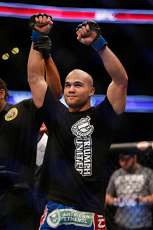 ANAHEIM, CA - FEBRUARY 23:  Robbie Lawler is declared the winner over Josh Koscheck in their welterweight bout during UFC 157 at Honda Center on February 23, 2013 in Anaheim, California.  (Photo by Josh Hedges/Zuffa LLC/Zuffa LLC via Getty Images) *** Loc