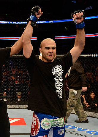 ANAHEIM, CA - FEBRUARY 23:  Robbie Lawler is declared the winner over Josh Koscheck in their welterweight bout during UFC 157 at Honda Center on February 23, 2013 in Anaheim, California.  (Photo by Donald Miralle/Zuffa LLC/Zuffa LLC via Getty Images) ***