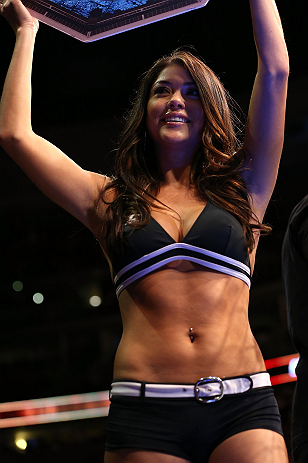 DENVER, CO - AUGUST 11:  UFC Octagon Girl Arianny Celeste introduces a round at UFC 150 inside Pepsi Center on August 11, 2012 in Denver, Colorado. (Photo by Josh Hedges/Zuffa LLC/Zuffa LLC via Getty Images)
