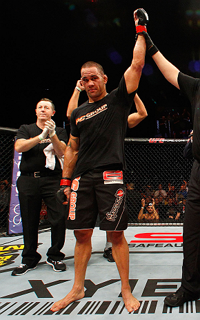 LONDON, ENGLAND - FEBRUARY 16:  James Te Huna reacts after defeating Ryan Jimmo in their light heavyweight fight during the UFC on Fuel TV event on February 16, 2013 at Wembley Arena in London, England.  (Photo by Josh Hedges/Zuffa LLC/Zuffa LLC via Getty